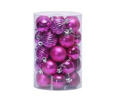 Nikgic. 34pcs Bola navideña de 6 cm de diámetro Bolas de Navidad de plástico de Colores Adorno de navida Adornos de árbol de Navidad Suministros para Fiestas Rosa roja