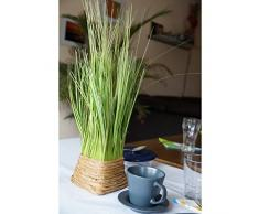 Artplants - Planta artificial de tallos largos en cesto, color verde