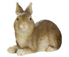 dekojohnson - Figura Decorativa de Conejo de Pascua, Figura de jardín, decoración de Pascua, Color marrón Natural, tumbada, 12 cm