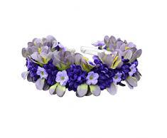 El celibato 97299141.059 - diadema con flores artificiales flores azules improvisada