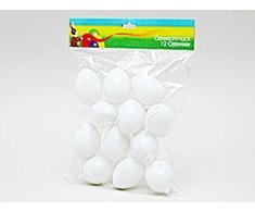 12 Pascua/huevos de plástico 6 cm Color Blanco