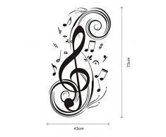 Pegatinas de Pared con Estilo Musical Nota Patrón de Sala de Estar Dormitorio de Fondo Decoración de la Pared Pegatinas (Negro)