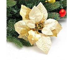 3 piezas bestdeal 20,32 cm brillantina flores guirnaldas de Navidad Artificial Árbol de Navidad decoración tibertano, dorado