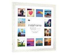 Inov8 16 x 40,64 cm Insta-Frame Marco para Instagram 13/de Estampado a Cuadros de Fotos con paspartú Blanco y Blanco con Borde, 2 Unidades, diseño de Flores de Plata