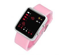Reloj - SODIAL(R)Unisex De mujer Reloj Hombre Silicona Digital Rojo LED Deportivo Binario pulsera Color Del Articulo:Rosa