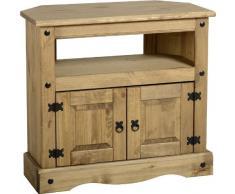 Corona – Mueble de esquina para televisor en pino encerado envejecido