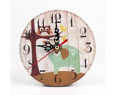 FEITONG Estilo Vintage reloj de pared silencioso de madera antiguo (G)