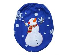 VANKER 3 Unids / set Xmas Azul Muñeco de nieve Asiento de Inodoro Cubierta y Alfombra Baño Mat Decoración de Navidad