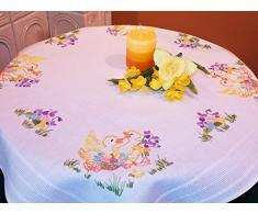 Duftin Sarah 01280-AZ05 - Kit de punto raso para camino de mesa, algodón, 40 x 100 cm, diseño de pascua