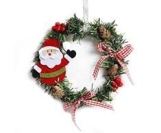 EisEyen Corona de Navidad Grandes Corona Puerta Pared verzierung Rojas Lazo Guirnalda de Flores decoración Puerta Corona Corona de Adviento Muñeco de Nieve/Oso/Alce/Papá Noel