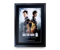 HWC Trading A3 FR Dr Who - Póster de la Serie de televisión del Día del Doctor, David Tennant Matt Smith John Hurt, Firmado como Regalo, Enmarcado A3 Impreso, película para autógrafos
