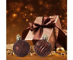 ITART 24pcs adornos árbol de Navidad Decoraciones de Inastillables Bolas de árbol de Navidad Ornamento Colgante Para el Festival, Boda, Decoración de Fiestas,Perchas Ganchos Incluidos (60 mm,2.36 inch, Marrón)
