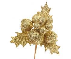 Decoraciones de Navidad, cebbay Navidad Figurita de frutas para árbol de Navidad Home Deco, dorado, Small