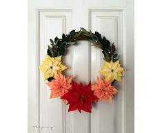 Corona de flores de pascua, corona navideña para decoración