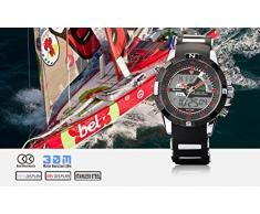 Shark SH043 - Reloj Hombre de Cuarzo, Correa de Goma Negra, Multifunción, Deportivo