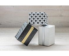 Papel de regalo Rollo 50cm x 50 Metros, Fabricio negro/blanco, 2 Lados