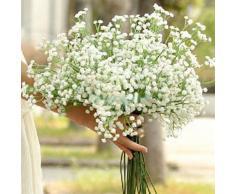 Soledi®3 x Ramo de Gypsophilas flores Artificiales falsas de tela Adorno para Boda Ceremonias Navidad hogar decoración, blanco
