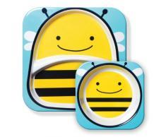 Skip Hop - Juego de cuenco y plato con compartimentos de melamina con diseño de abeja