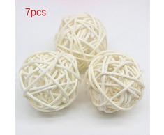 SDYDAY - Juego de 7 bolas de mimbre de colores para decorar el hogar, boda, Navidad, fiesta, decoración para colgar, Blanco, Tamaño libre