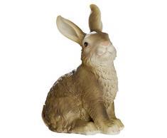 dekojohnson - Figura Decorativa de Conejo de Pascua para jardín, decoración de Pascua, Color marrón Natural, Sentado, 18 cm, sonajero Largo, Conejo