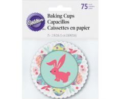 Wilton - Moldes de papel para magdalenas (75 unidades, 5 cm), diseño de huevos y conejo de Pascua, multicolor