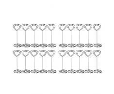 JZK® 20 x Metal corazón remolino foto memorándum nota soporte de soporte de clip boda nombre lugar tarjeta titular para boda o otras ocasiones (plata)