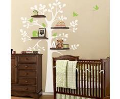 """Adhesivo de-Baby bebé de complemento de vinilo de original-adhesivo - estantes para el árbol de Navidad de pegatinas con diseño de pájaros de - Baby-espacio-arte-de la decoración, vinilo, b, 88""""hx62""""w"""