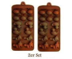 HelpCuisine Juego de 2, Cada uno con 14, moldes de Chocolate Silicona Bombones Forma, Patos, Conejos – para Huevos de Pascua, Color: marrón.