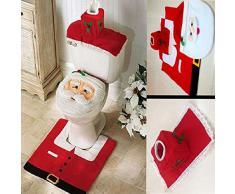 Sales La®3PCS Fancy Papá cubierta de asiento de tocador y alfombra de baño Decoración de Navidad