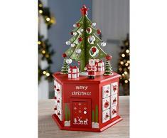 WeRChristmas – Árbol Calendario De Adviento Torre Decoración de Navidad, rojo, 36 cm