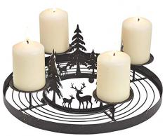 Matches21 Corona de Adviento de Metal con 4 portavelas y Bosque de Ciervos para adornar - Negro Diámetro 30 x 13 cm
