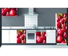 Plage Cerezas Vinilo Adhesivo para la Cocina, Vinilo, Rojo, 60x3x180 cm