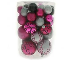 WeRChristmas 50 piezas A prueba de impactos Deluxe adornos para árbol de Navidad unidades de bolas navideñas de diversos tamaños y estilos, rosa/plateado/negro