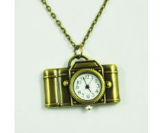 Gleader Reloj Collar Largo Colgante de Camara Estilo Antiguo - Bronce