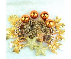 LKKLILY-Adornos Árbol de Navidad 24 Vestidos Bronce Navidad Decoraciones Bolas de Navidad Regalos de Navidad