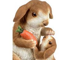 dekojohnson - Conejo Decorativo con Dos Conejos de Pascua, Pareja de Conejos con niño, Figura de jardín, decoración de Pascua, marrón, 20 cm, Figura de Pascua, Conejo
