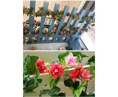 BlueXP 2 Unidades 230cm Guirnalda de Rosas Artificiales con Hojas Verdes Hiedra de Seda Plantas Colgantes para Colgar Decoración Boda Arco Cercas Hogar Navidad Interior Partido-Rosa Roja