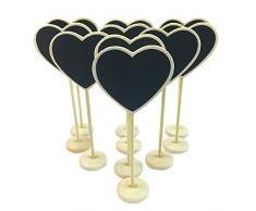 CUILEE MINI Corazón pizarrón pizarra tablón WordPad de mensajes de madera con soporte de la boda lugar etiqueta de la tarjeta número/tarjeta de lugar el establecimiento de decoración, juego de 10