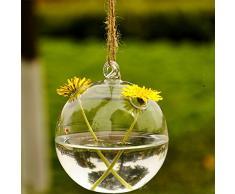 Soledi®Florero cristal colgante forma redondo con dos agujeros flor hidropónico Jarrón botella contenedor decoración de casa jardín regalo navidad