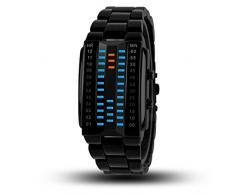 oumosi 3d especular binario LED electrónico reloj resistente al agua relojes de pulsera para amante, negro, large