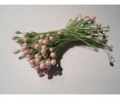 100 estambres de la flor, tallo verde con la luz rosada cabeza, Boda, Pascua, decoración de la torta,