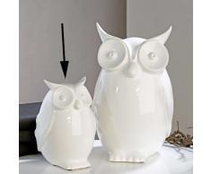 Diseño-figura decorativa de búho de cerámica ,  Blanco ALTURA 20 cm