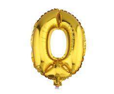 V-SOL Globos De Números Para Fiestas De Cumpleaños Boda Velada Navidad 32 Pulgada Número 0-Dorado