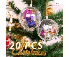 himaly 20 pcs 8cm Bolas de Navidad Transparente de Plástico Acrílico Rellenable 80mm Bola Navidad Plástico Transparente para Llenado de Decoraciones de Árboles de Navidad Bodas Bautismo (8cm)