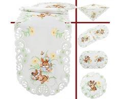 Mantel bordado Quinnyshop con conejo de Pascua marrones y flores, camino de mesa, tamaño a elegir, de poliéster, color blanco, poliéster, Weiß, 40 x 110 cm