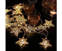 Foxpic Cadena de Luces LED Diseño de Estrellas Decoración para Exteriores Boda Fiesta Árbol Navidad (1 Metros, 10 LEDs)