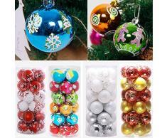Christmas Bolas de navidad - koly 24 piezas XMAS bolas brillas elegantes adorno decoracion arbol chucherias Bolas de Navidad Decoraciones Adornos Fiesta Boda Ornamento 6cm (6CM, Rojo)