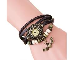Demarkt Demarkt Retro Girls mujeres del reloj pulsera del abrigo del ala del ángel colgante de cuarzo reloj de pulsera (Café)