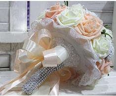 Calcifer - Ramo de flores para novia, brillante, para boda, flores artificiales vintage Heirloom, de 25,40 cm, con brillantes