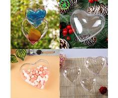 PS de bolas de Navidad bolas de árbol de Navidad bolas de Navidad bolas de plástico decoración de hogar fiesta, corazón, transparente, 80MM (2.56inch)